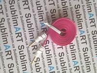 AUX кабель плоский малиновый mini-jack, 1 м.