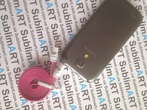 AUX кабель плоский малиновый mini-jack, 1 м., фото 3