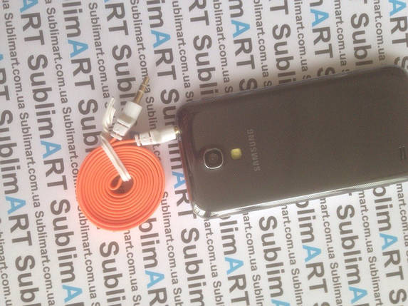 AUX кабель плоский оранжевый mini-jack, 1 м., фото 2