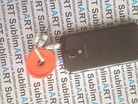 AUX кабель плоский оранжевый mini-jack, 1 м.