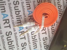 AUX кабель плоский оранжевый mini-jack, 1 м., фото 3