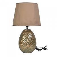 """Настольная лампа """"Ananas"""" с керамическим основанием и тканевым абажуром 43см, цвет - бронзовый"""