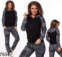 Женский спортивный костюм кона на змейке (черный) 827934