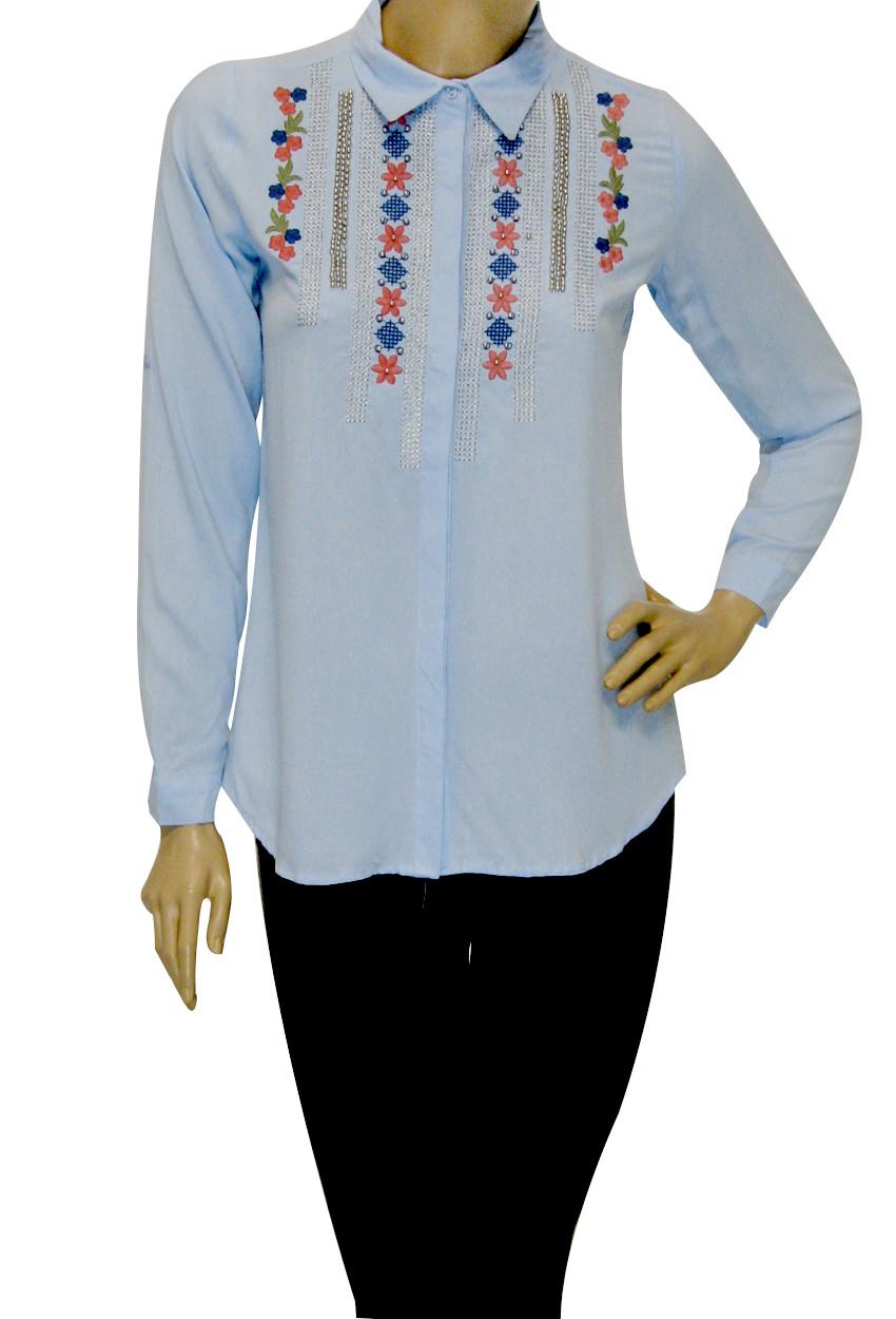 Жіноча голуба сорочка з вишивкою і бісером Tarzz