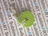 AUX кабель плоский салатовый mini-jack, 1 м.