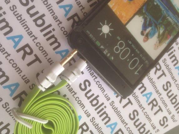 AUX кабель плоский салатовый mini-jack, 1 м., фото 2