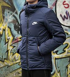 Куртка мужская найк демисезонная темно-синяя ветровка (реплика) Jacket Nike Dark Blue