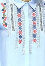 Жіноча голуба сорочка з вишивкою і бісером Tarzz, фото 3