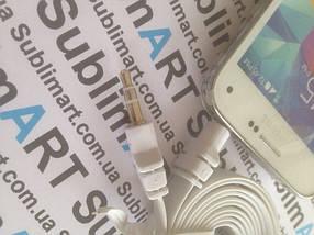 AUX кабель плоский белый mini-jack, 1 м., фото 2