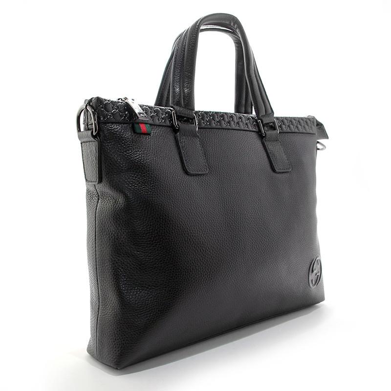 Портфель-сумка кожаная для документов, папка черная Gucci 1104-1