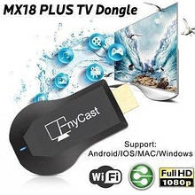 Медиаплеер AnyCast MX18 Plus (Google) беспроводной смарт адаптер 1080P Full HD Wifi TV Stick