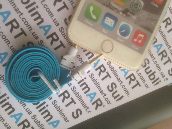 AUX кабель плоский голубой mini-jack, 1 м., фото 2