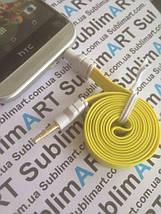 AUX кабель плоский желтый mini-jack, 1 м., фото 2