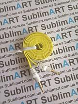 AUX кабель плоский желтый mini-jack, 1 м., фото 3