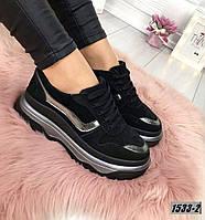 Кроссовки женские замшевые черные , фото 1