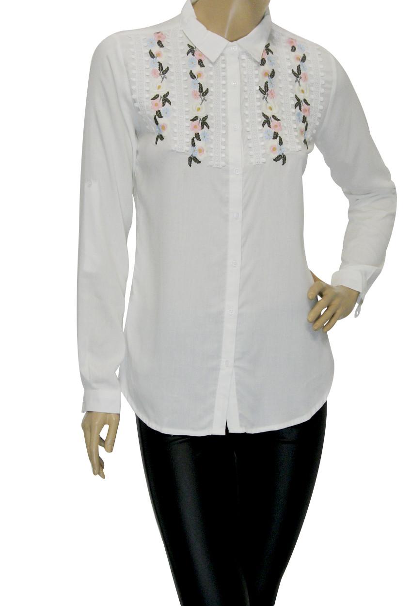 Жіноча блузка сорочка з вишивкою і бісером