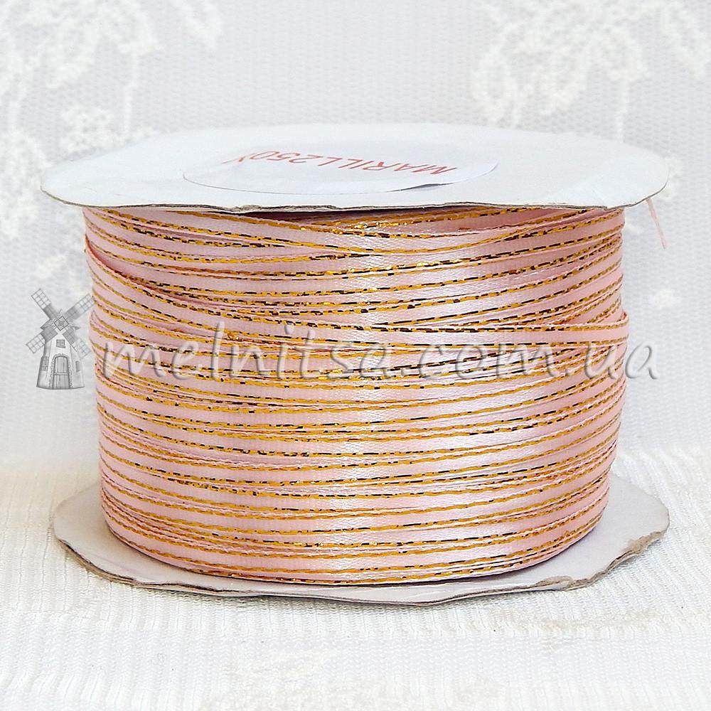 Атласная лента с люреском 0,3 см, светло-розовый+золото