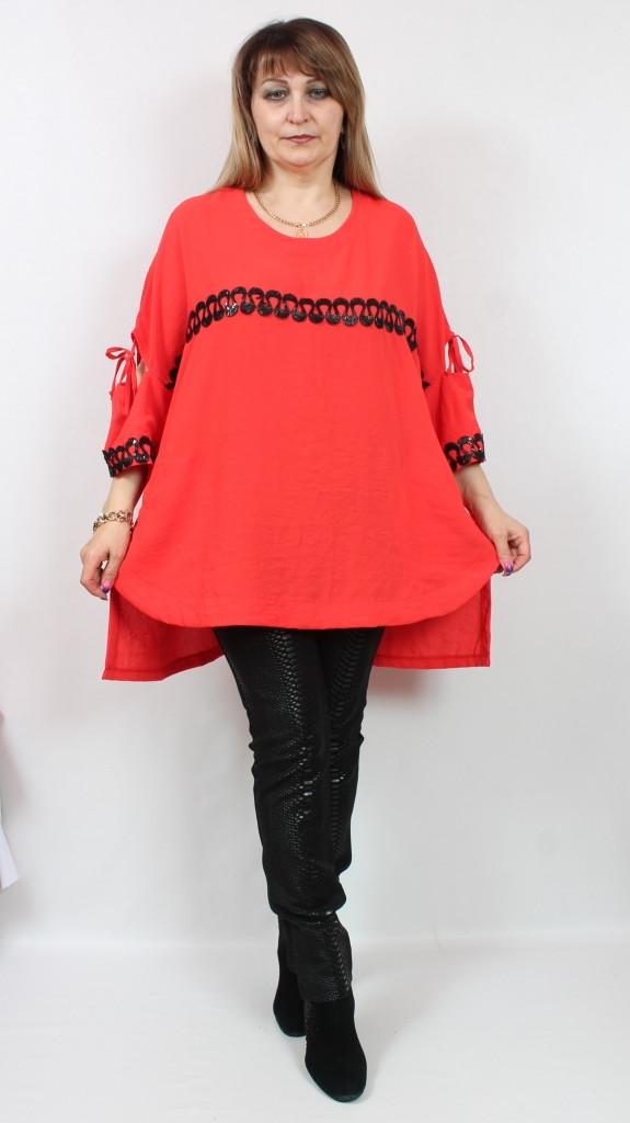 Турецкая женская красная туника с пайетками, больших размеров 58-66