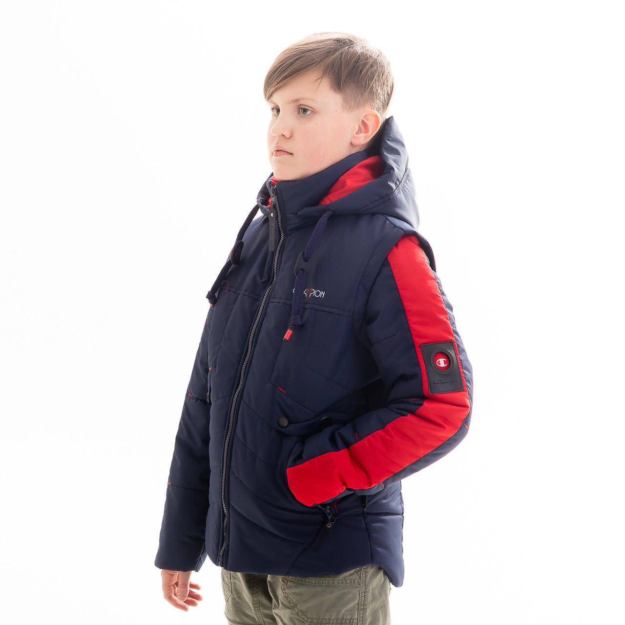 """Куртка - жилет для мальчика демисезонная """"Стен"""", размеры на рост 128 - 158"""