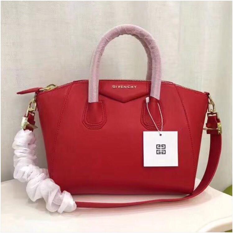 928dcf013355 Сумка Живанши Givenchy Antigona 28, 32 см натуральная кожа, цвет красный,  фурнитура серебро