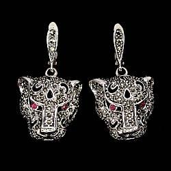 Серебряные серьги с натуральными Рубинами и Марказитами