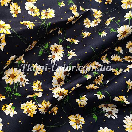 Ткань коттон стрейч принт цветочки на синем, фото 2