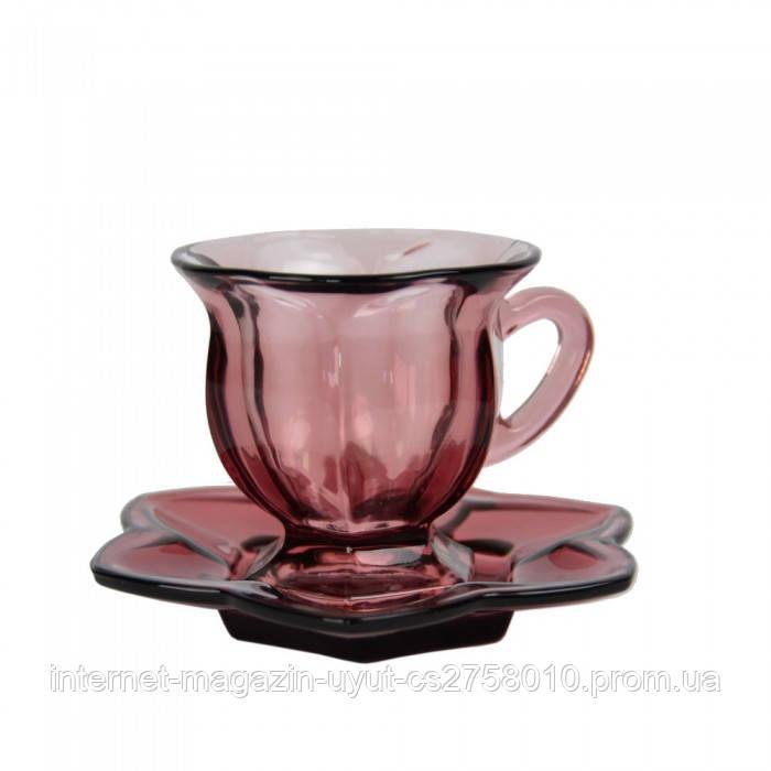 """Набор чашек с блюдцами 12 предметов """"Flower"""" фиолетовый VB421"""