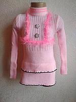Теплый тонкий свитер -гольф  розовый  4-6 лет, фото 1
