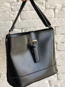 Черная женская сумка в классическом стиле, из эко кожи