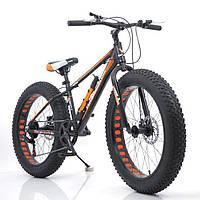 """Велосипед Hammer S-800 Extrime Fatbike 24""""дюймов (черно - оранжевый)"""