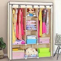 Большой тканевый шкаф для одежды на 3 секции «Storage» 130х45х175 см. Бежевый