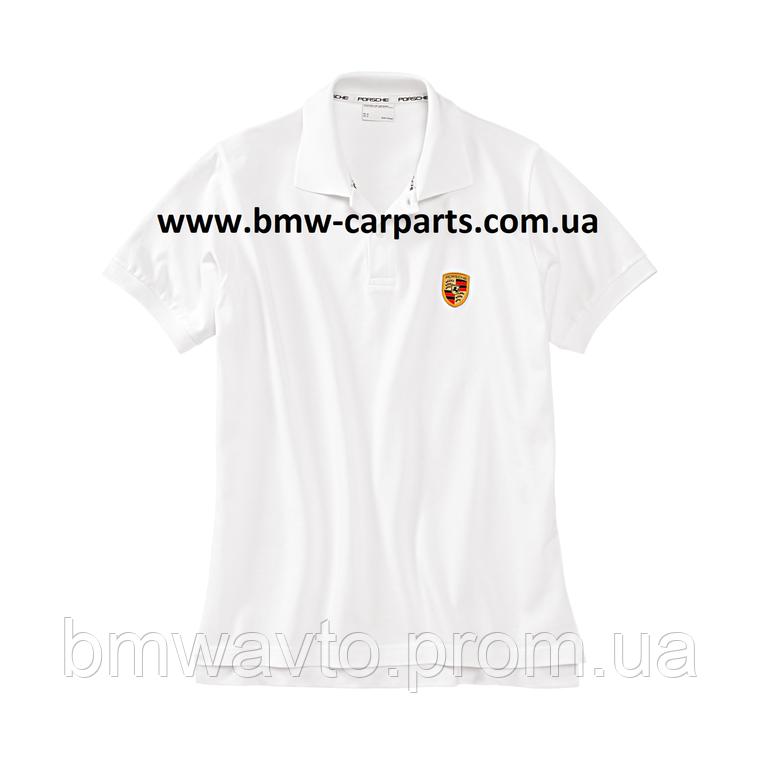 Мужская рубашка-поло Porsche Men's Polo Shirt, Logo, White, фото 2