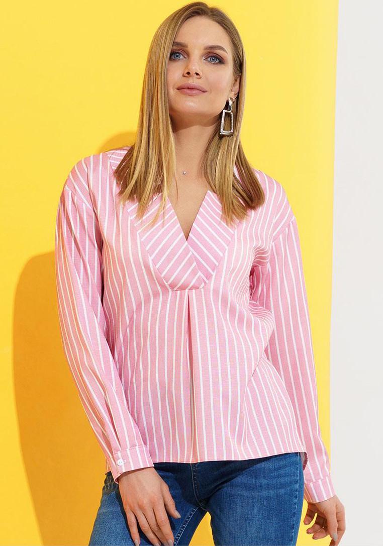 9be57eab7db Льняная блуза в полоску розового цвета. Модель 20880. Размеры 42-46 - Irse