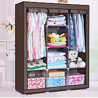 Большой тканевый шкаф для одежды на 3 секции «Storage» 130х45х175 см. Коричневый, фото 1