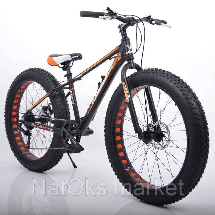 """Велосипед Hammer S-800 Extrime Fatbike 26"""" дюймов (черно - оранжевый)"""