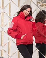 Стильная красная и синяя куртка пуховик дутик короткая высокий ворот 42-44, 44-46