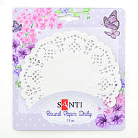 Набор салфеток ажурных круглых Santi,диаметр 11,4 см./12 штук/