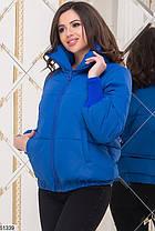 Стильная красная и синяя куртка пуховик дутик короткая высокий ворот 42-44, 44-46, фото 3