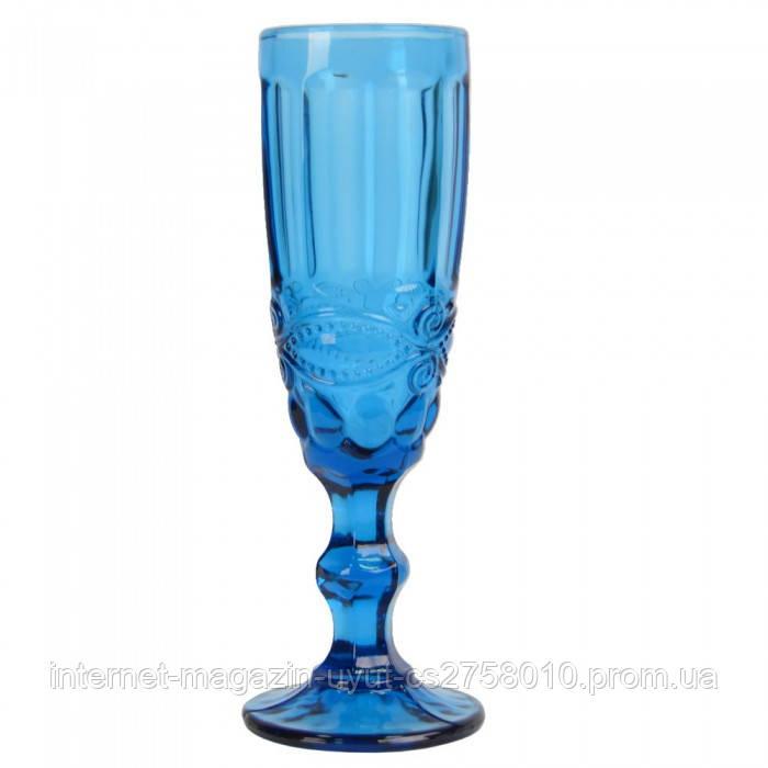 """Набор 6 бокалов для шампанского """"Ornament"""" 150мл синее стекло"""