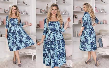 """Элегантное женское платье в больших размерах 1124 """"Креп Клёш Цветы Миди"""" в расцветках"""