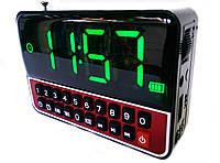 Часы, будильник, колонка WS-1513 c USB, MicroSD и FM радиоприемник с аккумулятором