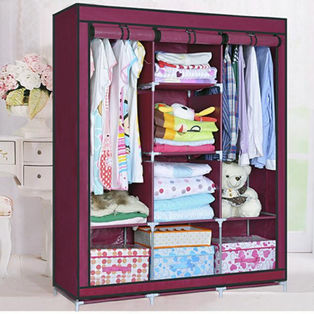 Большой тканевый шкаф для одежды на 3 секции «Storage» 130х45х175 см. Бордовый
