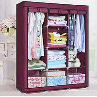 Большой тканевый шкаф для одежды на 3 секции «Storage» 130х45х175 см. Бордовый, фото 1