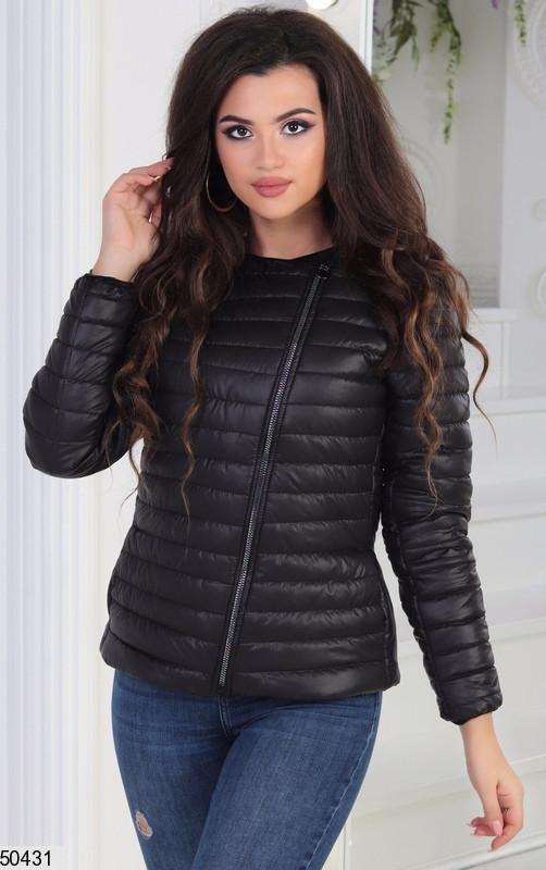 Черная Короткая куртка весна плащевка теплая на молнии цвета в ассортименте 42-44-46
