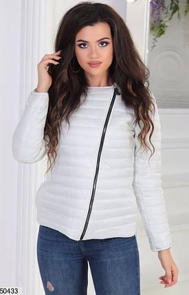 Короткая белая куртка весна плащевка теплая на молнии цвета в ассортименте 42-44-46, фото 2