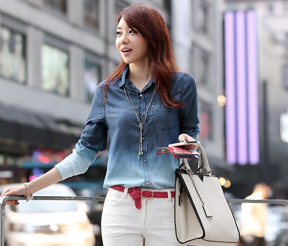 Женская рубашка-блуза омбре,