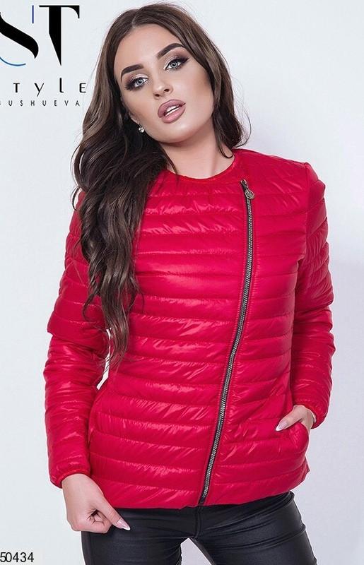 Короткая красная куртка весна плащевка теплая на молнии цвета в ассортименте 42-44-46