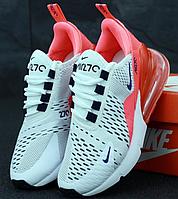 Женские Кроссовки Nike Air Max 270 White Pink, Найк Аир Макс 270 Белые с Розовым, реплика