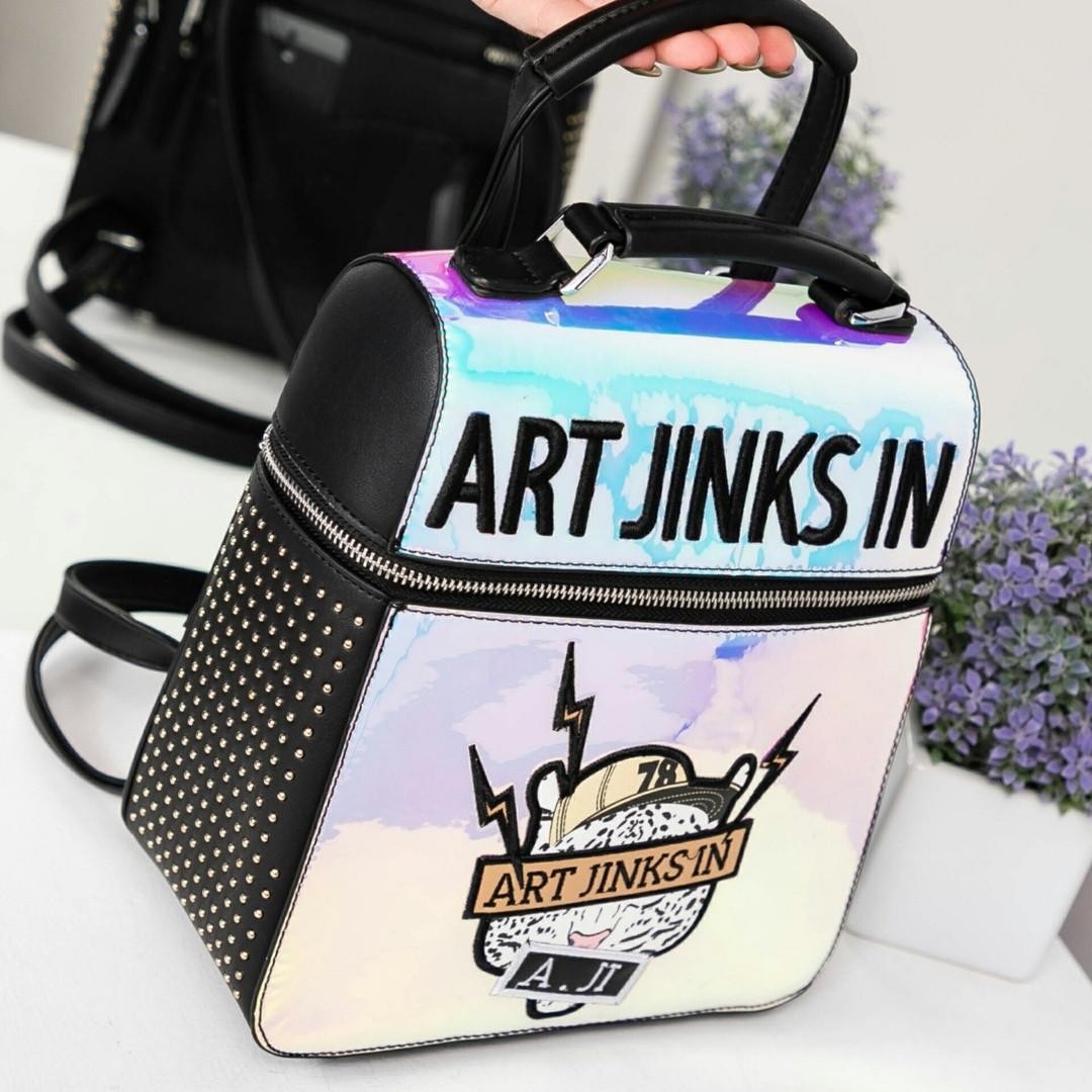 Сумка рюкзак женский с рисунками и надписями