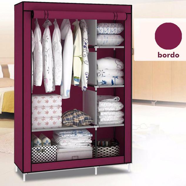 Шкаф тканевый для одежды на 2 секции HCX «88105 bordo» 105х45х170 см Бордовый